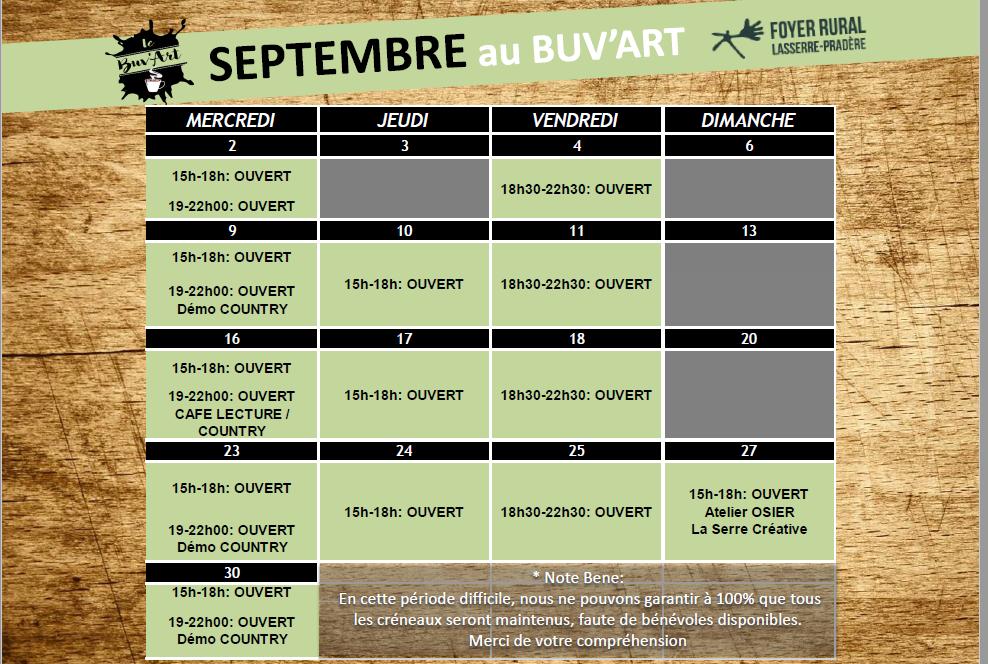 Programme de Septembre au BUV'ART