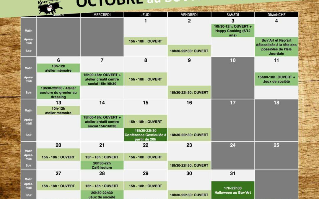 Programme d' Octobre au BUV'ART