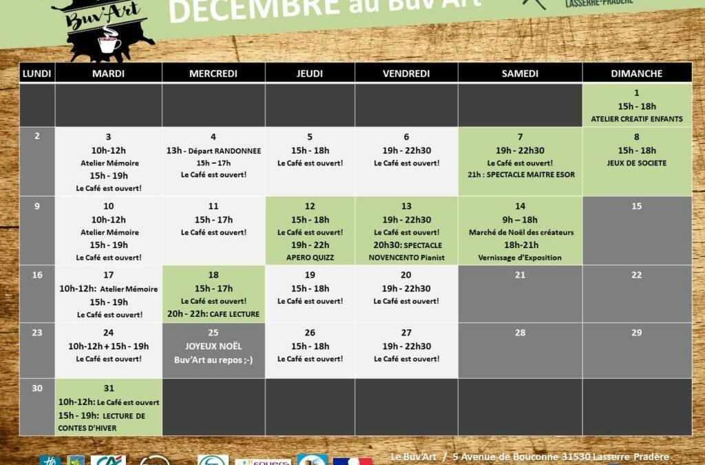 Programme de Décembre au Buv'ARt