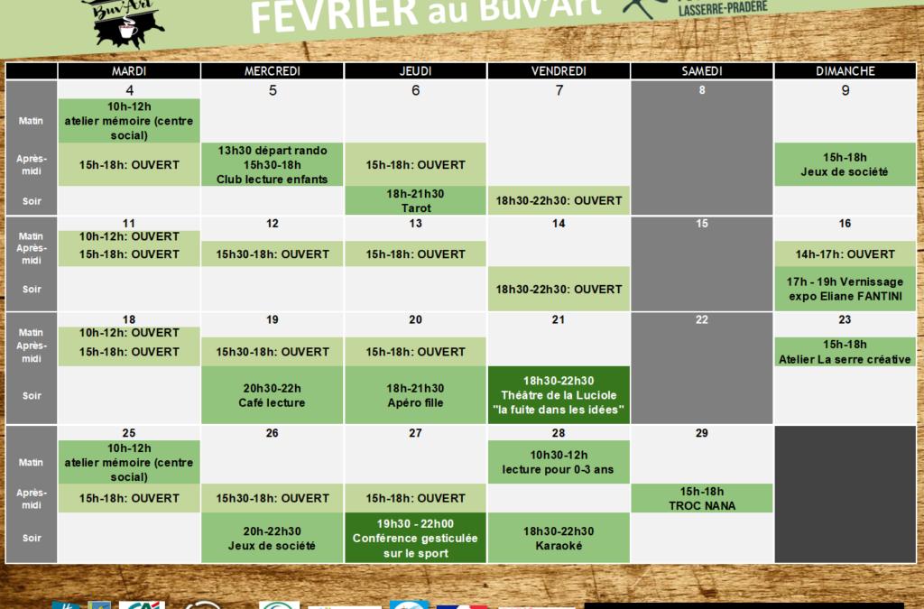 Programme du Buv'ART de FEVRIER 2020