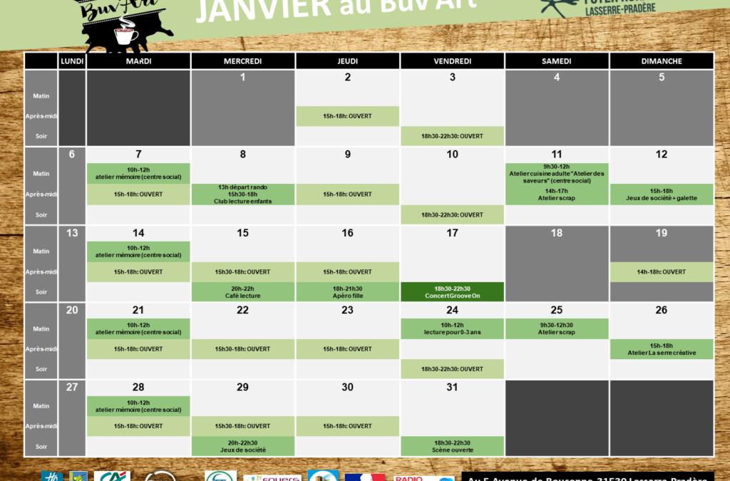 Programme de JANVIER au Buv'Art
