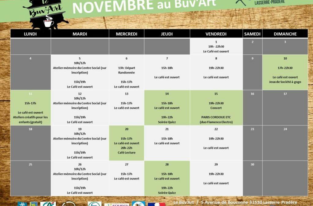 Programme de Novembre au Buv'Art