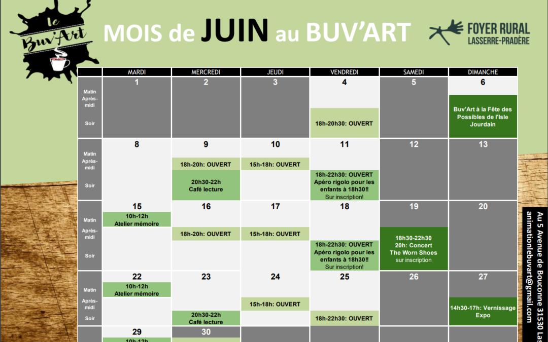 Programme de juin au Buv'Art